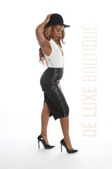 Faux Leather High Low Midi Skirt - The Dé Luxe Boutique