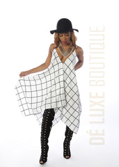 Grid Pattern Handkerchief Midi Dress - The Dé Luxe Boutique