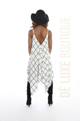 Grid Pattern Handkerchief Dress - The Dé Luxe Boutique