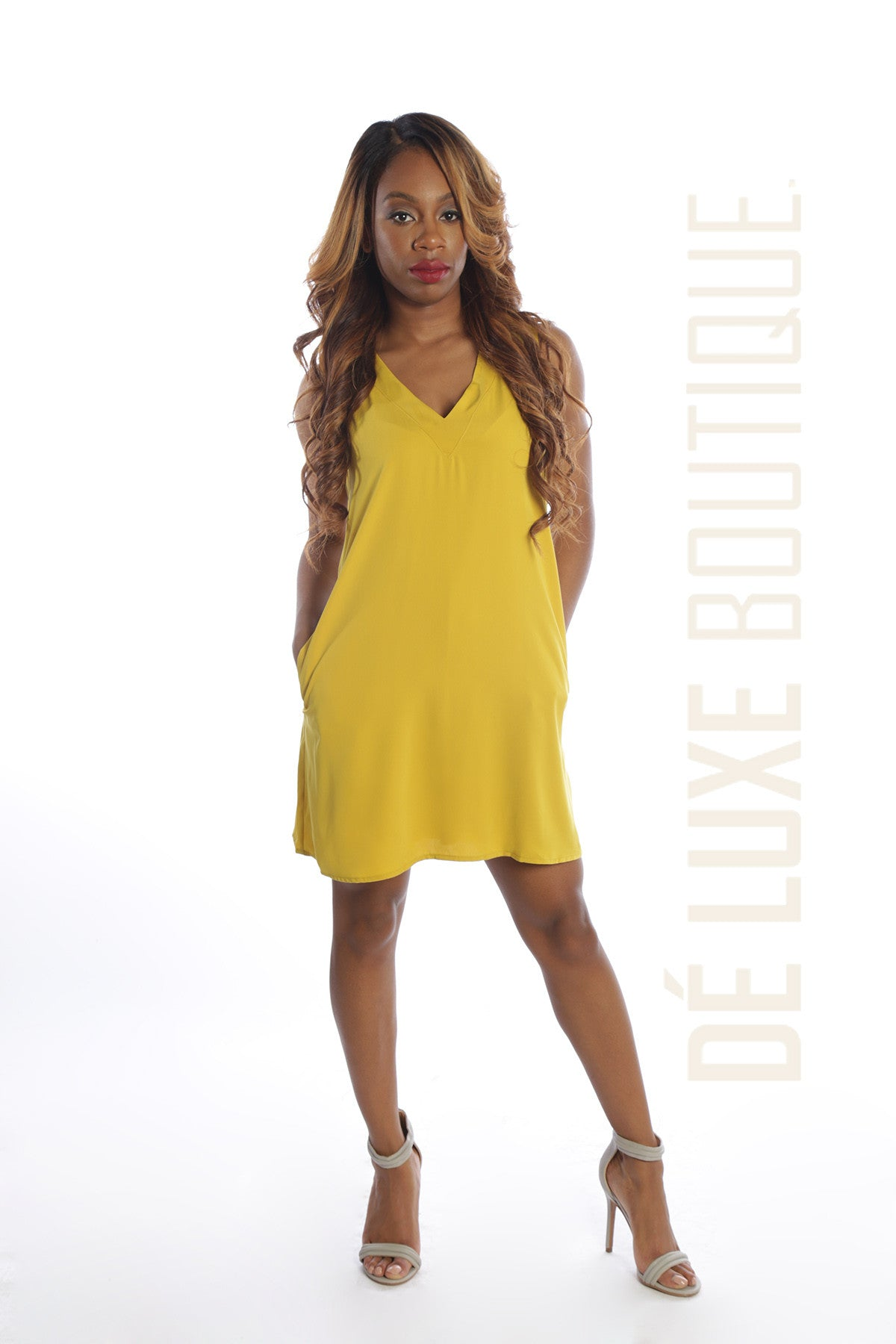 Sleeveless Pocket Shift Mini Dress - The Dé Luxe Boutique