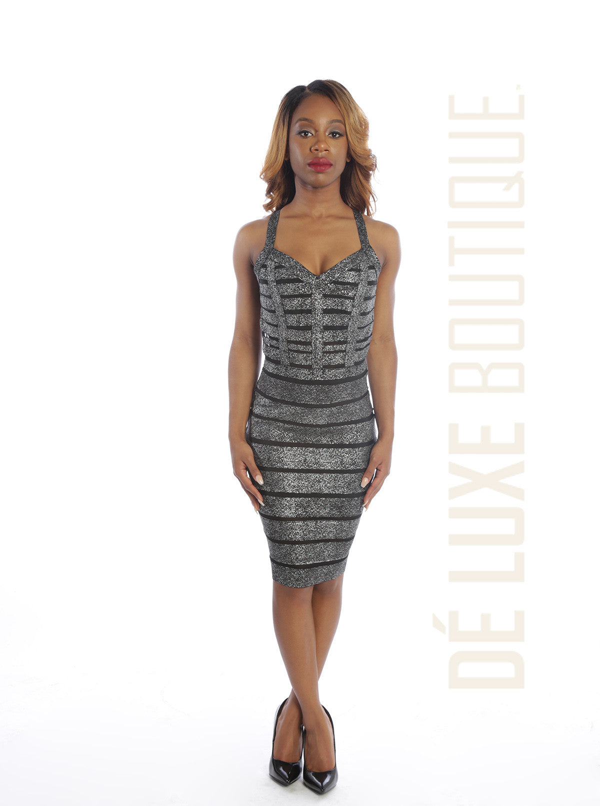 Sweet Heart Foiled Bandage Midi Dress - The Dé Luxe Boutique