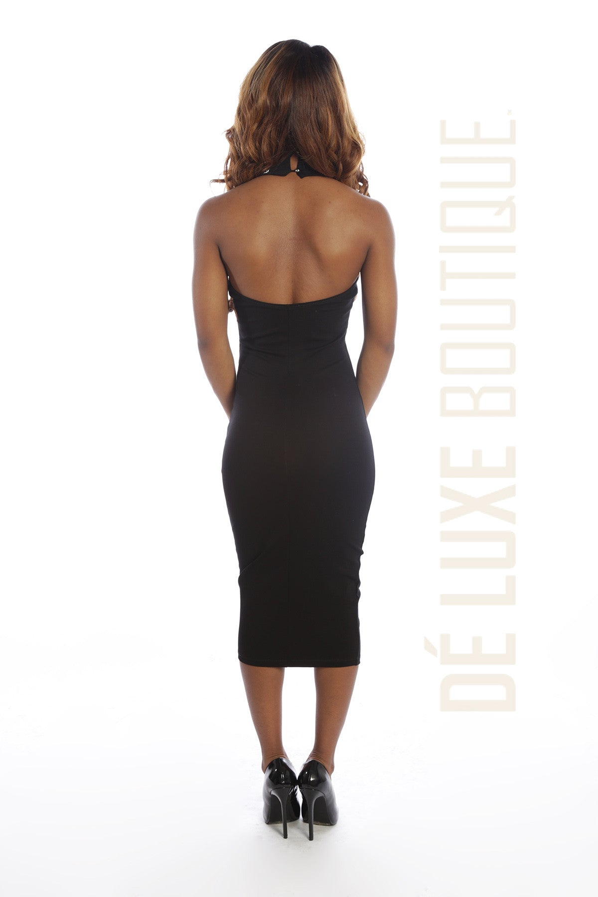 Embellished Neck Midi Dress - The Dé Luxe Boutique