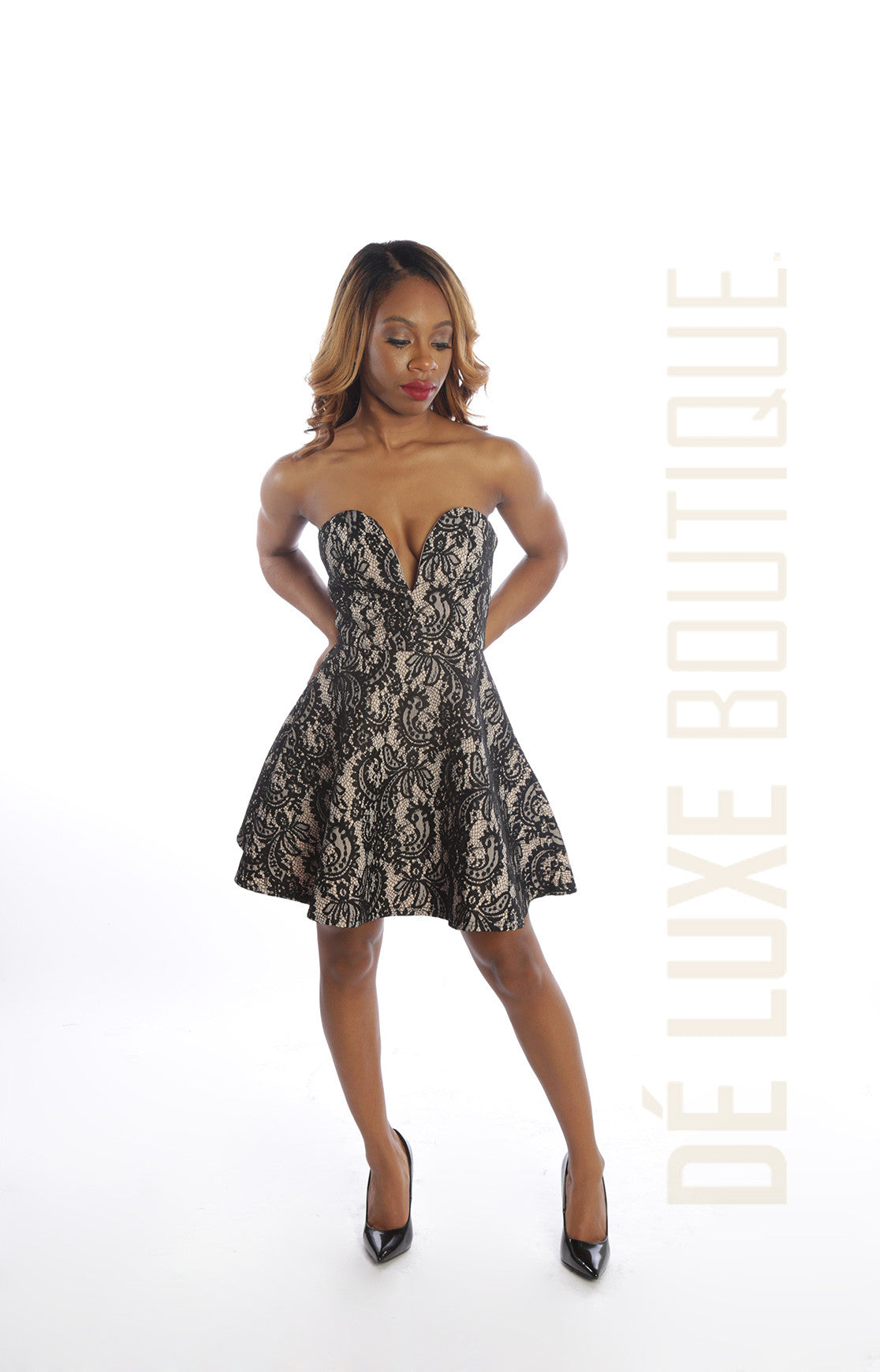 Strapless Sweetheart Midi Dress - The Dé Luxe Boutique