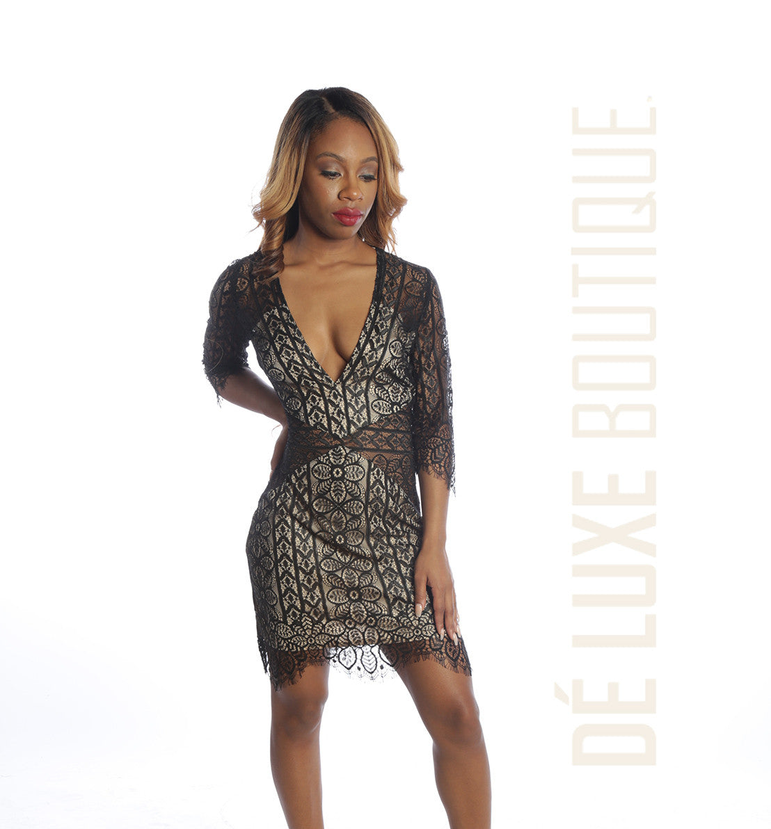 Lace Me All Over Mini Dress - The Dé Luxe Boutique