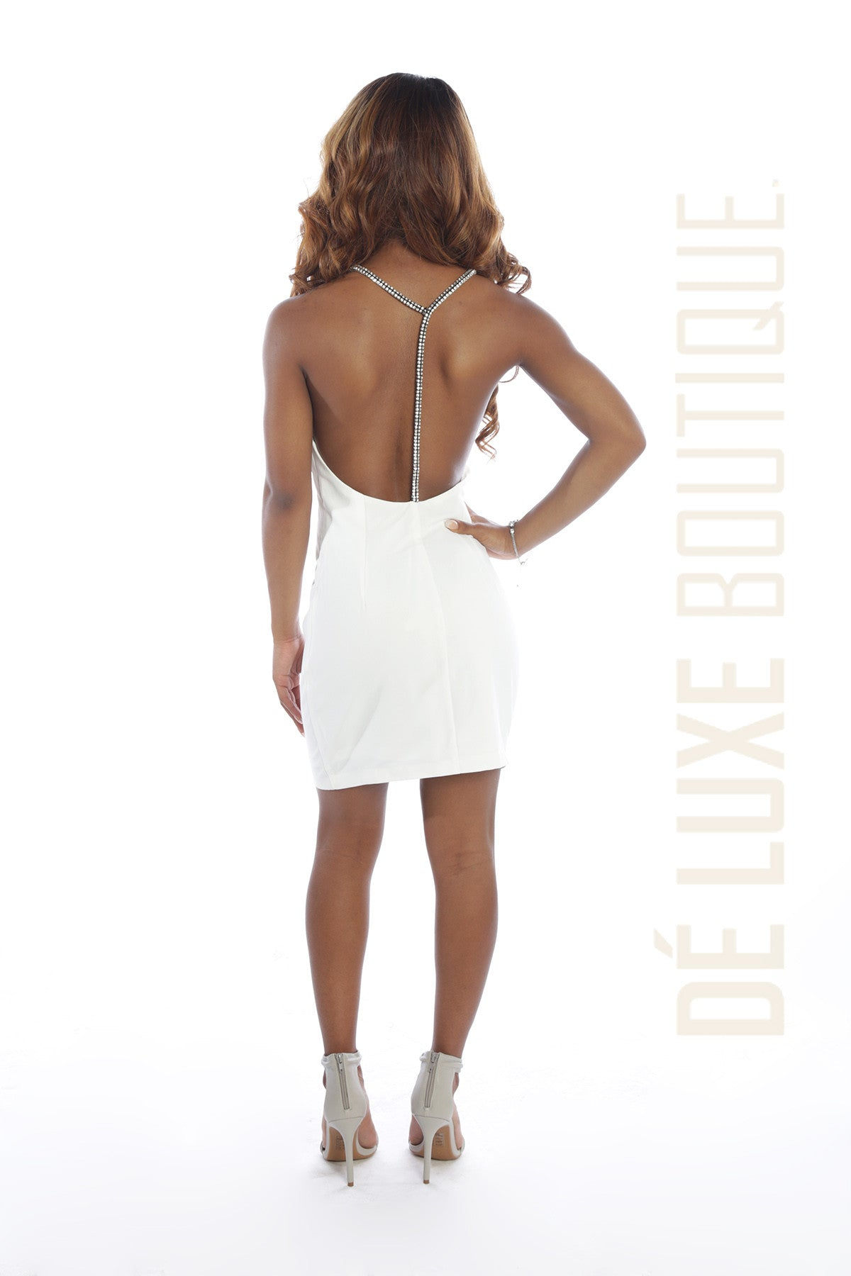 Embellished Strappy Mini Dress - The Dé Luxe Boutique