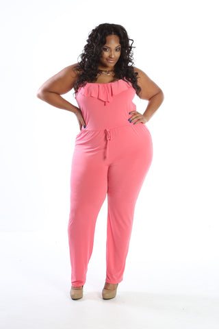 Plus Size Spaghetti Strap Tiered Jumpsuit