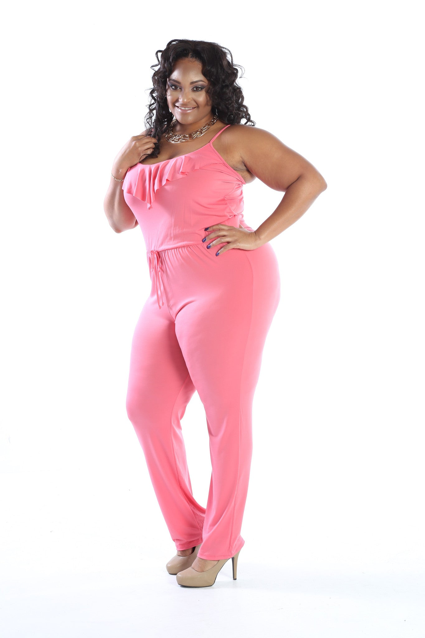 Plus Size Spaghetti Strap Tiered Jumpsuit - The Dé Luxe Boutique