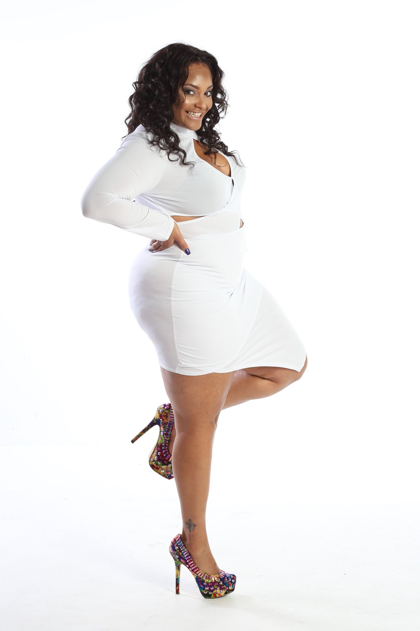 Plus Size Sassy Cross Over Bodycon Mini Dress - The Dé Luxe Boutique