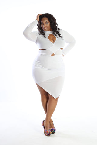 Plus Size Sassy Cross Over Bodycon Mini Dress