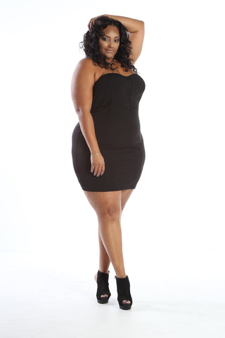 Plus Size Sweetheart Mesh Tube Mini Dress