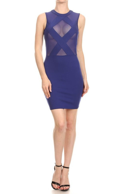 Sleeveless Mesh Cross Over Bodycon Mini Dress - The Dé Luxe Boutique