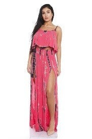 Tie Dye Double Slit Maxi Skirt Set