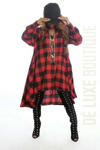 Long Sleeve Plaid T-Shirt Dress