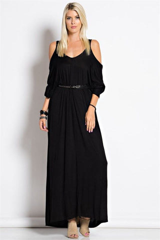 Criss Cross Open Shoulder Maxi Dress