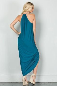 Spaghetti String Drape High Low Maxi Dress