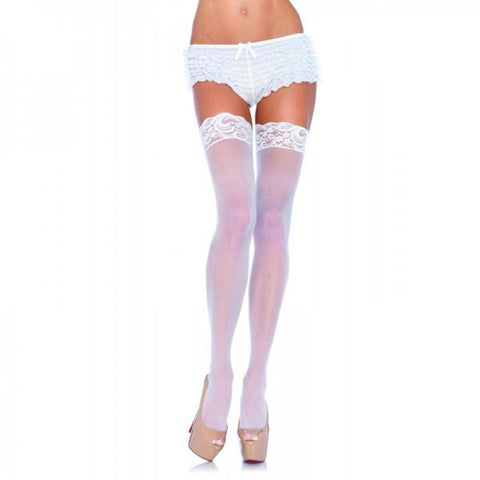 White Lace Thigh Highs - Kelly's Kloset