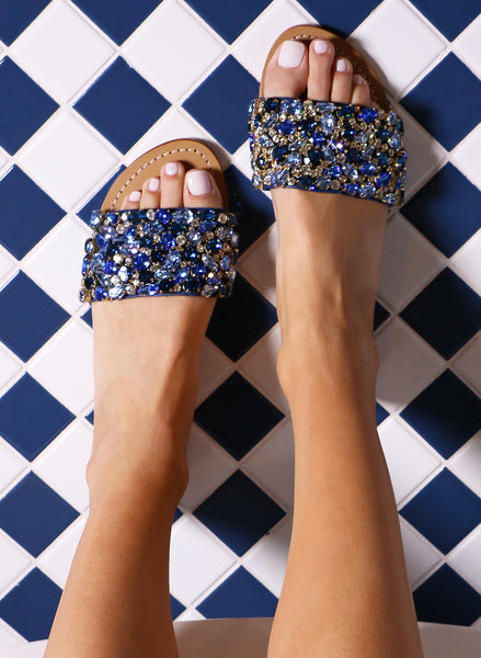 Canova beach-navy jeweled diamonte slide summer leather sandals