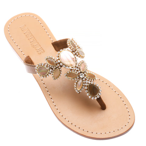 5dd261919d5 Women s Flat Leather Sandals with Shells   Stones