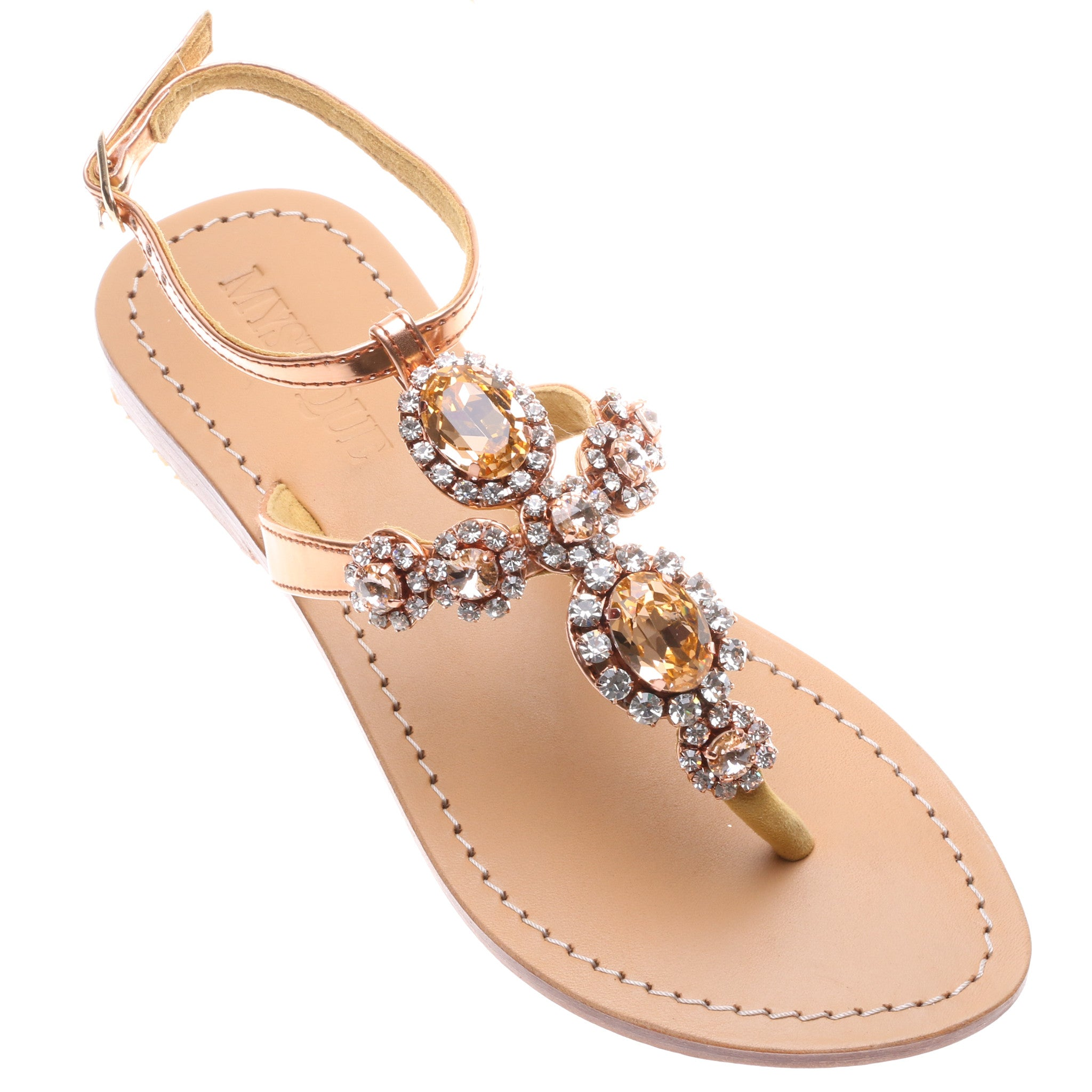 60bad6ee13aebb Jeweled   Embellished Flat Leather Women s Sandals