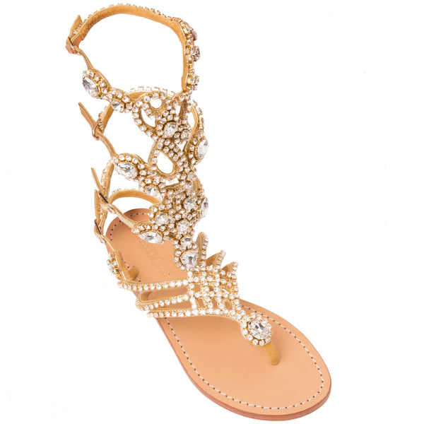 03710a11b6b9a3 South Beach- Women s Gold Jeweled Gladiator Sandals