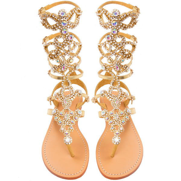a8eb9402a St. Andrews -Women s Gold Gladiator Jeweled Sandals