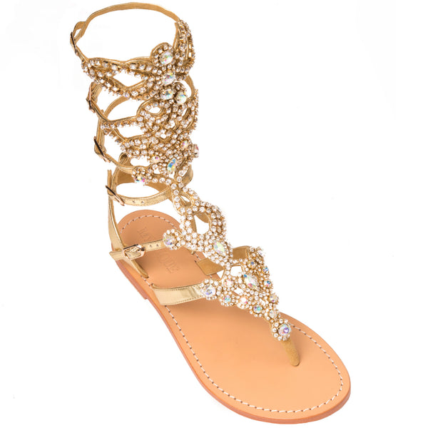 1769afae32e St. Andrews -Women s Gold Gladiator Jeweled Sandals