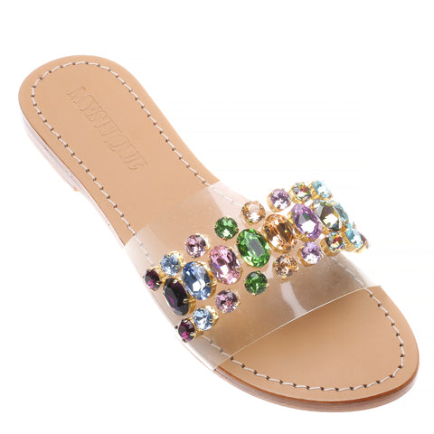 ef8276df2 Jeweled   Embellished Flat Leather Women s Sandals