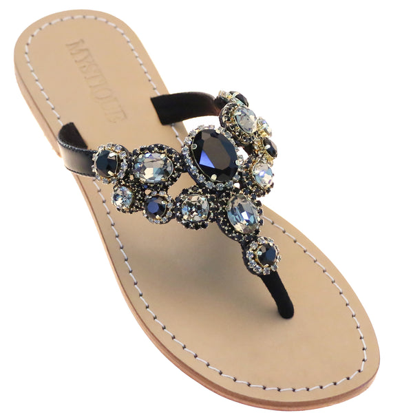 Women's Black Jeweled Leather Sandals