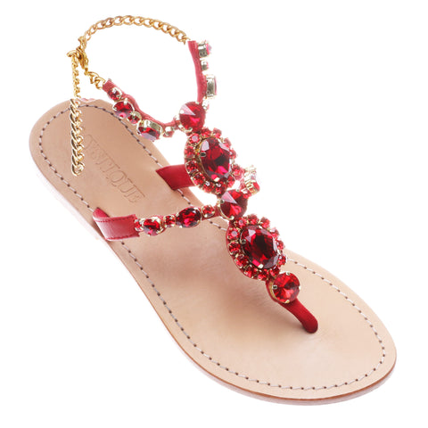 88969767730c Jeweled   Embellished Flat Leather Women s Sandals