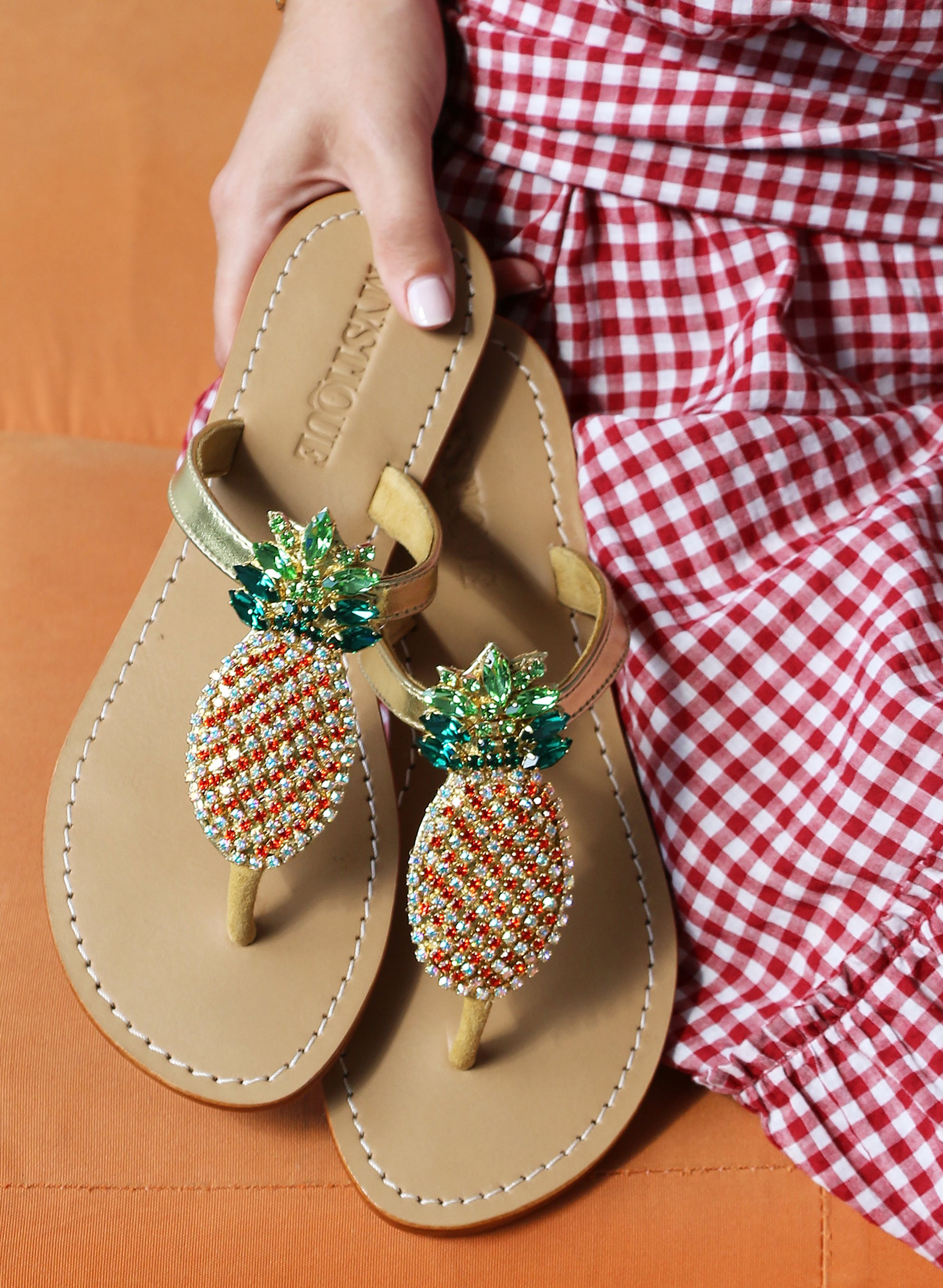 5a20529169e8d Jeweled   Embellished Flat Leather Women s Sandals