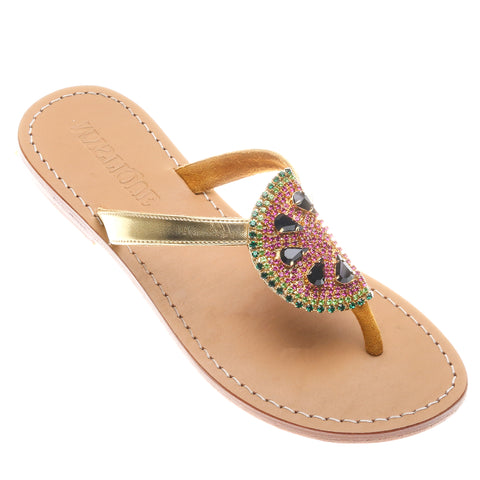 554f3cac6 Jeweled   Embellished Flat Leather Women s Sandals