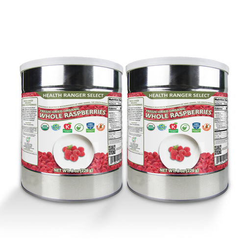 Freeze-Dried Organic Whole Raspberries (8oz, #10 Can) (2-Pack)