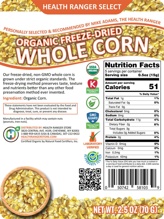 Freeze-Dried Organic Whole Corn (2.5oz)