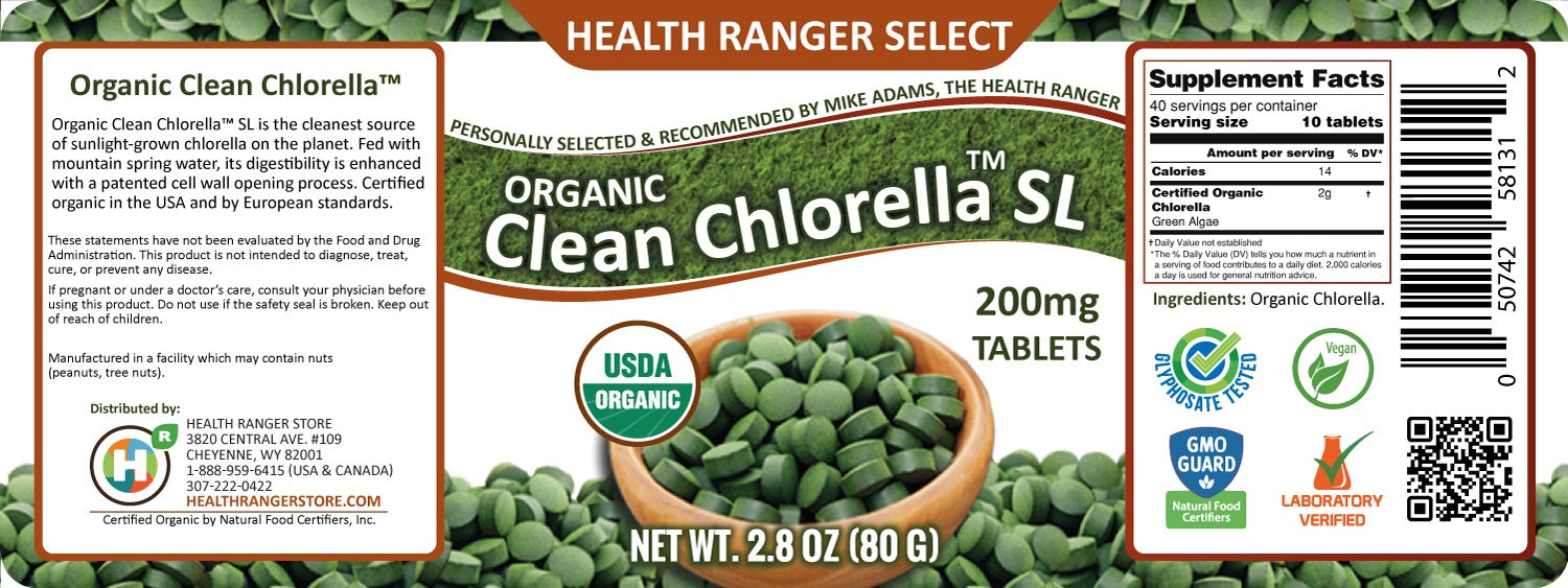 Organic Clean Chlorella SL 200mg approximately 400 Tablets