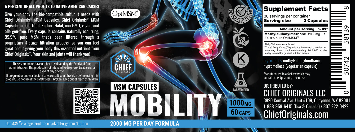 OptiMSM Capsules for Joint Health 1000mg 60Caps
