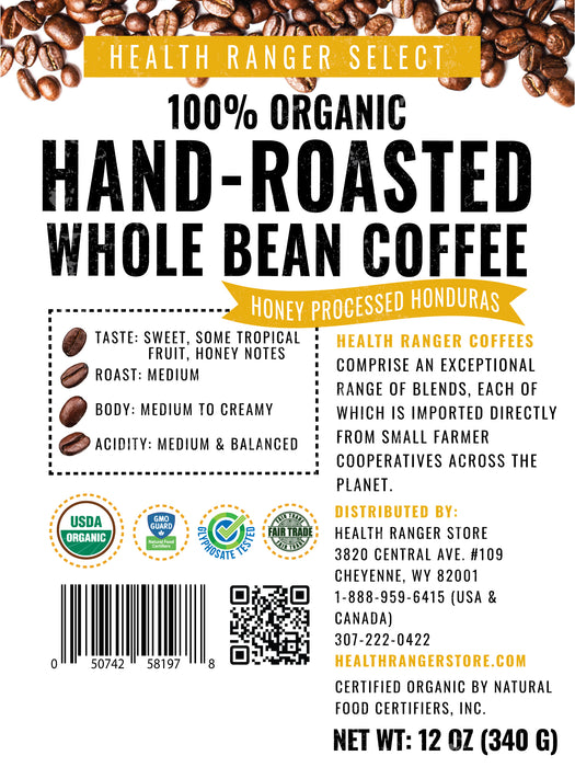 100% Organic Hand-Roasted Whole Bean Coffee (Honey Processed Honduras)   12oz, 340g