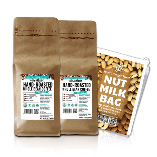 100% Organic Hand-Roasted Whole Bean Coffee (Cold Brew) 12oz, 340g (2-Pack) + Nut-Milk / Sprouting Bag