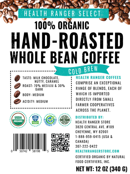 100% Organic Hand-Roasted Whole Bean Coffee (Cold Brew) 12oz, 340g