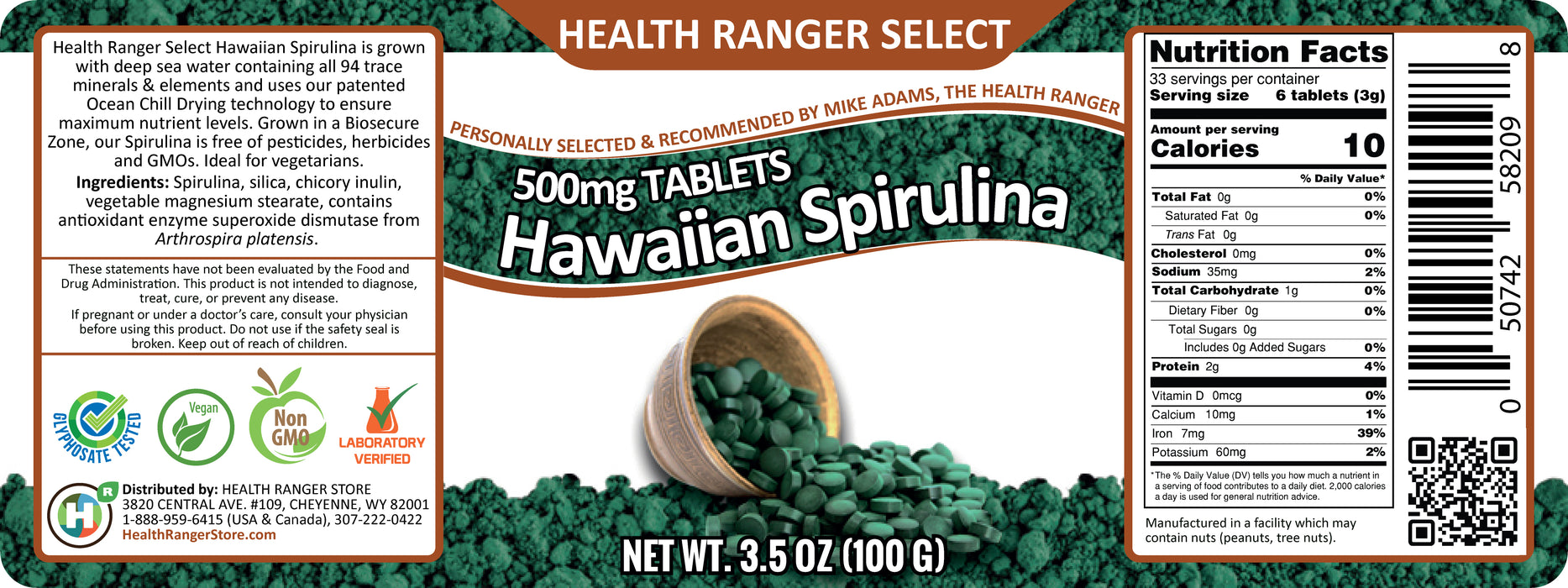 Hawaiian Spirulina Cold Pressed 500 mg 3.5oz (Approximately 200 tabs)