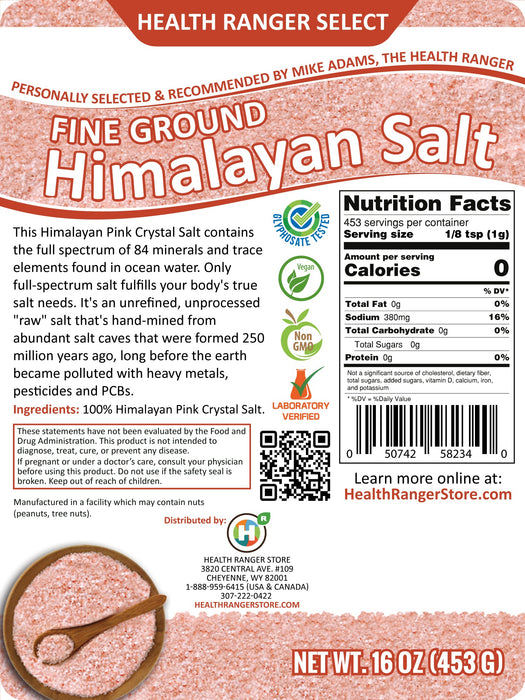 Himalayan Salt Fine Ground 16 oz. (453g)