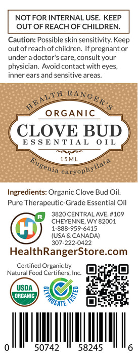Organic Clove Bud Essential Oil 0.5oz (15ml)