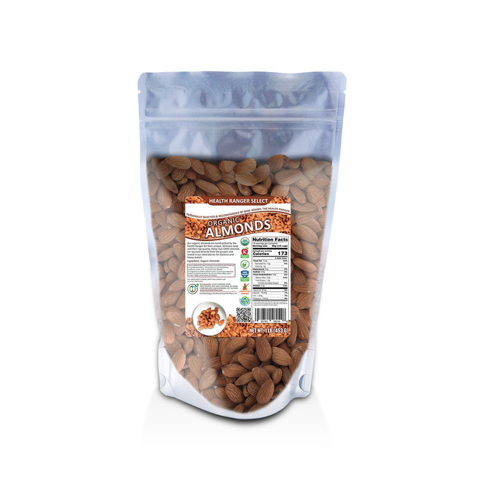 Organic, Raw, Unpasteurized, NON-irradiated Almonds 1lb (453g) (6-Pack)