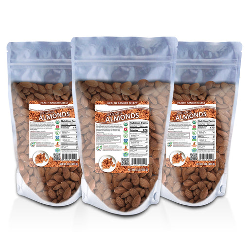 Organic, Raw, Unpasteurized, NON-irradiated Almonds 1lb (453g) (3-Pack)