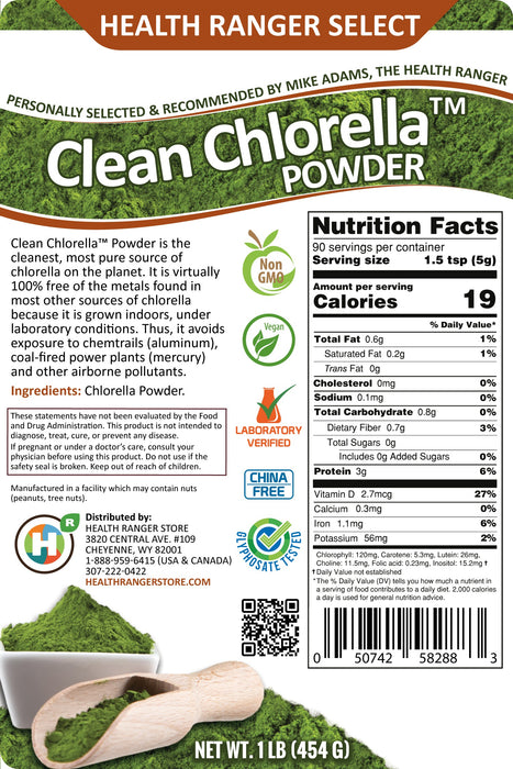 Clean Chlorella Powder 1lb (454g)