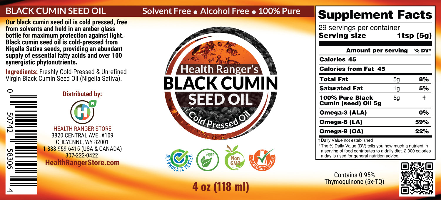 Health Ranger's Black Cumin Seed Oil 4oz