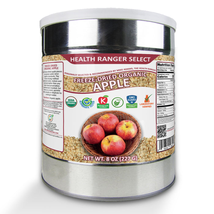 Freeze Dried Organic Apple 3/8 Diced (8oz, #10 can) (2-Pack)