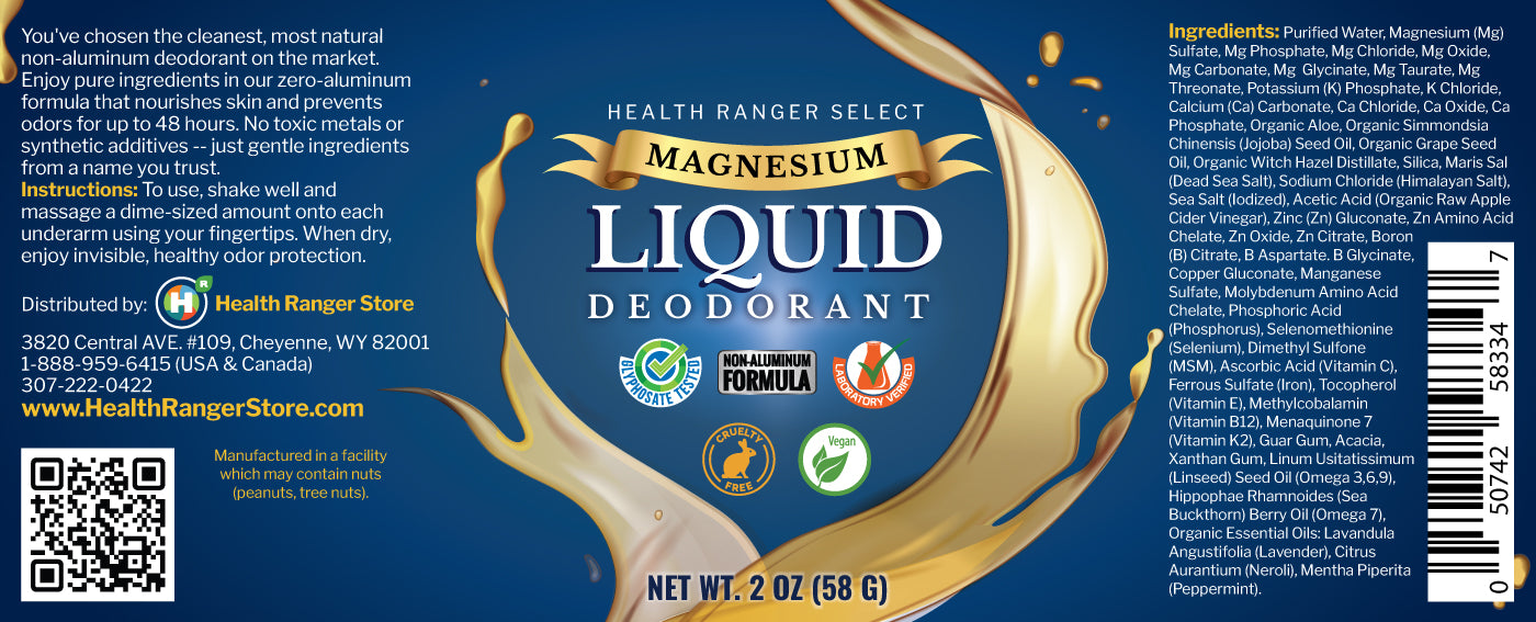 Magnesium Liquid Deodorant 2 fl oz (58g) (Over 3 Month Supply)*