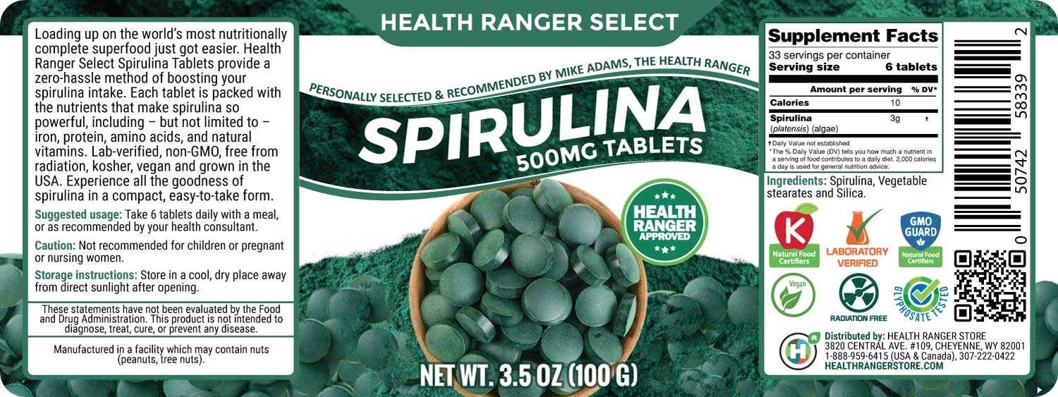 Health Ranger Select Spirulina 500mg Tablets 3.5oz (100g)