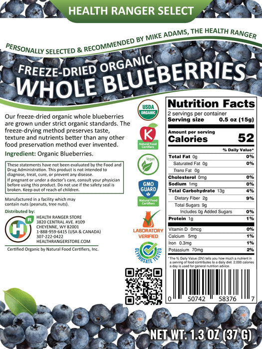 Freeze-Dried Organic Whole Blueberries 1.3 oz (37g)