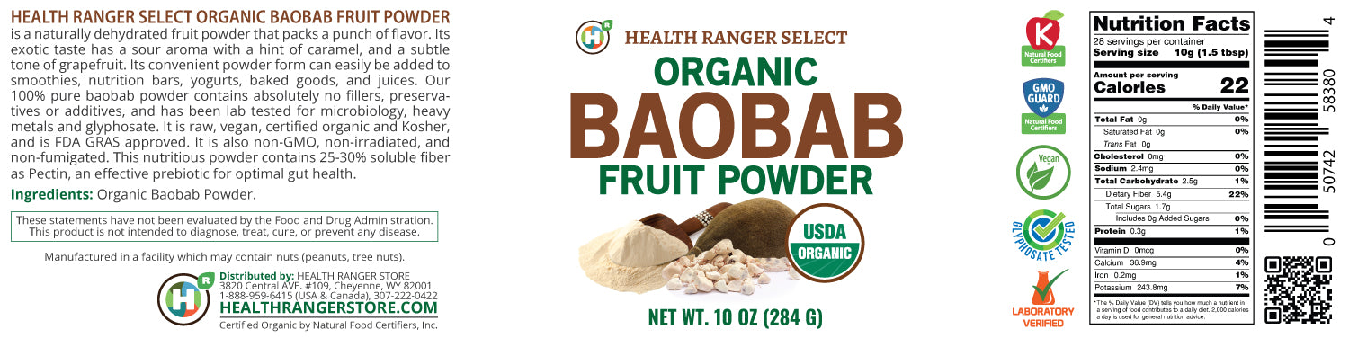 Organic Baobab Fruit Powder 10 oz (284 g)